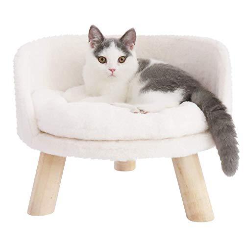 Bingopaw Erhöhtes Katzensofa Hundesofa, Katzenbett mit weichem Plüsch Katzenkissen, Holz Katzenhocker Warm Katzenshclafplatz in Winter für Katzen Welpen