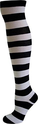 normani® Damen Overknees Geringelt, Blickdicht mit vielen Farbmustern Farbe Schwarz/Weiß