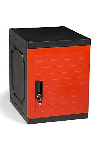 Jink Locker, Lockable Storage Cabinet 19' with Keys | Great for Kids, Home, School, Office or Outdoor | Toy Box, Footlocker, Bedside Dresser/Nightstand, Sports or Gym (Red)