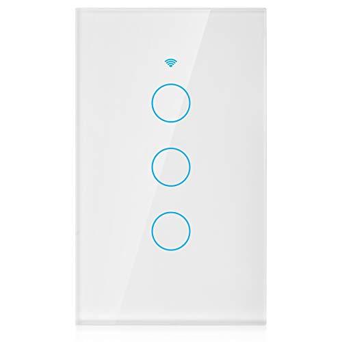 Panel de interruptores WiFi, Interruptor Inteligente, Interruptor de Tiempo a Prueba de Golpes Abs V0 Material ignífugo para Luces de Control(White, U.S. regulations)