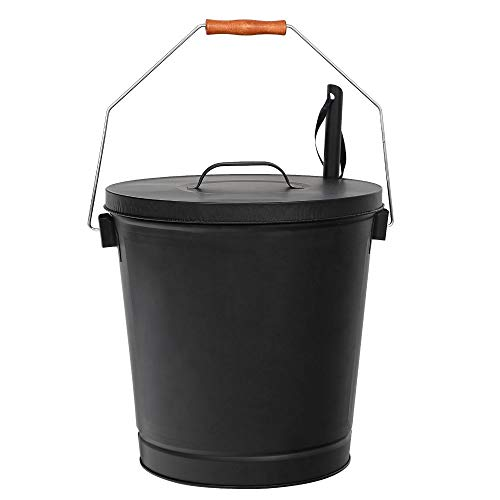 5 Gallon Black Ash Bucket with Lid and Shovel - for Fireplaces Fire Pits Stoves | BWB Products