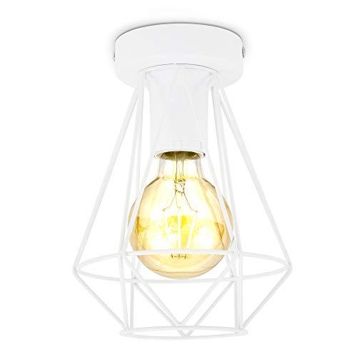 B.K.Licht I Draht-Deckenleuchte I 1-flammig I E27 I Vintage I 165 mm Durchmesser I Weiß I ohne Leuchtmittel