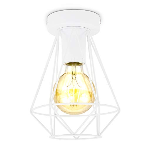 B.K.Licht Plafoniera vintage, adatta per lampadina E27 non inclusa max 40W, filo metallico bianco, diametro 16.5cm, lampada da soffitto stile industriale