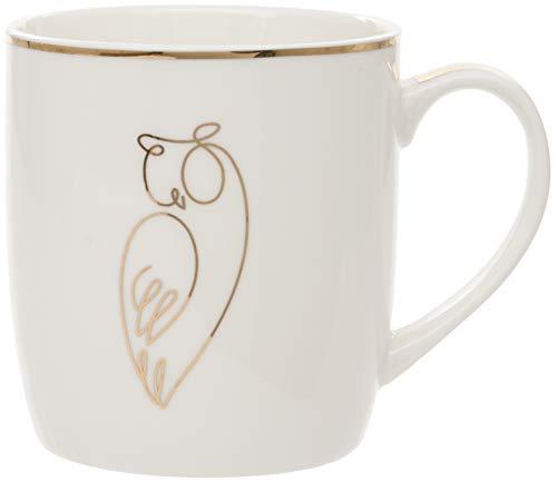 Maturi Owl Design Fine China Taza con detalles de hoja de oro, H806