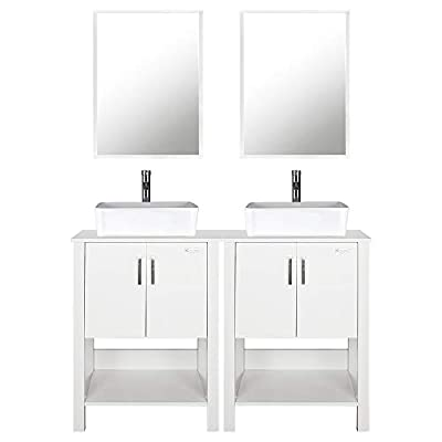 "eclife 48"" Bathroom Vanity Sink Combo White Cabinet Vanity White Ceramic Vessel Sink and Chrome Bathroom Solid Brass Faucet and Pop Up Drain, W/Mirror (2T03B12W)"