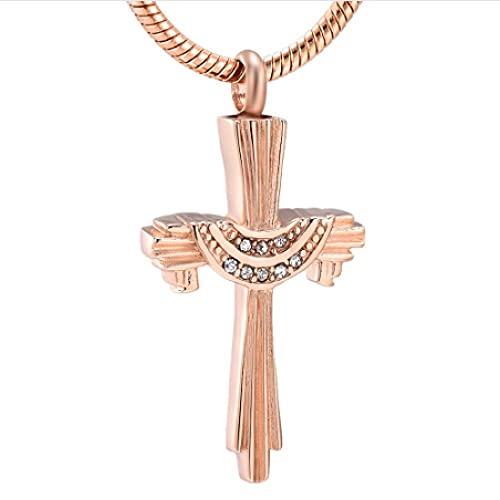 MITIAN Acero inoxidable Cruz Cremación Joyería Para Cenizas - Colgante de Cruz de Cristal para Hombres Mujeres Collar de Urna Memorial para Mascotas/Humanos