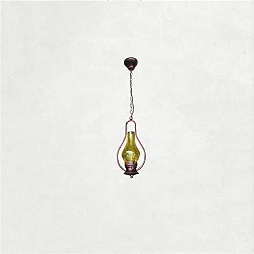 Iluminación colgante colgante interior Retro Creative Glass Lantern Lampshade American Village Hierro Metal Luces Colgante Ajustable Cadena Colgante Chandelier Vintage Cocina Casa Rural Restaurante Ga