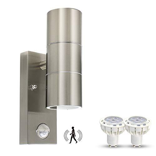 LED Aussenleuchte mit Bewegungsmelder, Wandleuchte Edelstahl, Up Down PIR inkl. 2x GU10 LED Lampe 7W Warmweiß