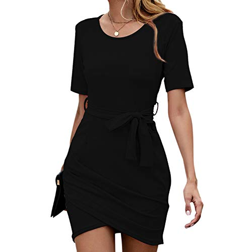 FLORAL PIG Women's Summer Crew Neck Short Sleeve Casual Bodycon Pleated Solid Belted Party Midi Dress