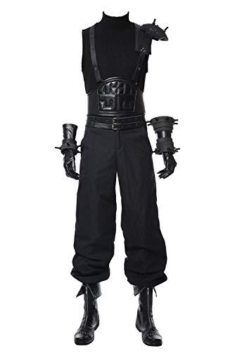 Hommes Final Fantasy 7 Remake Cloud Strife Cosplay Costume Deguisement Halloween Carnaval Uniforme de Bataille Ensemble Complet, XS