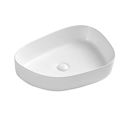 Eridanus Aufsatzwaschbecken mit Weißem Ablaufgarnitur aus Keramik, Waschbecken aus hochwertiger Sanitär-Keramik, Aufsatz-Waschschale Waschtisch, 55 x 40 x 14 cm