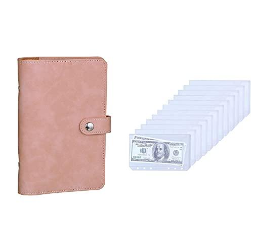 Antner A6 PU Leather Notebook Binder (Pink) Bundle   12pcs Binder Pockets A6 Size 6-Holes (NO Zipper)