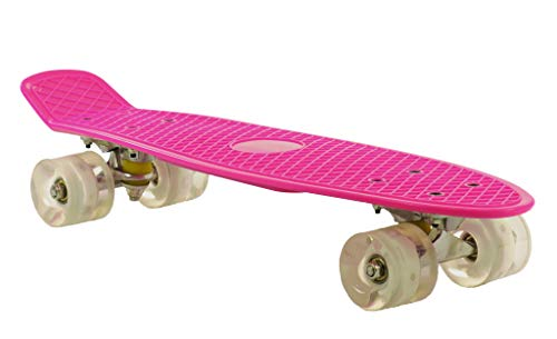 2 Cycle Mini Cruiser 22,5 Zoll mit LED Rollen - Skateboard in Rosa