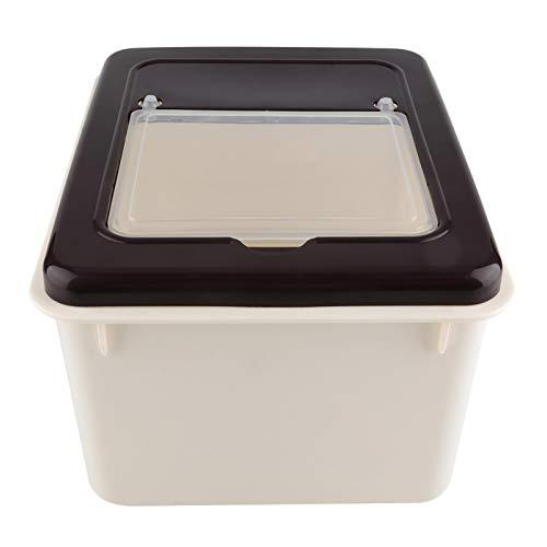 Cocina Plástico Cereal Grano Frijoles Caja de almacenamiento de alimentos Contenedor de alimentos Mano de obra estándar para el hogar(coffee, white)