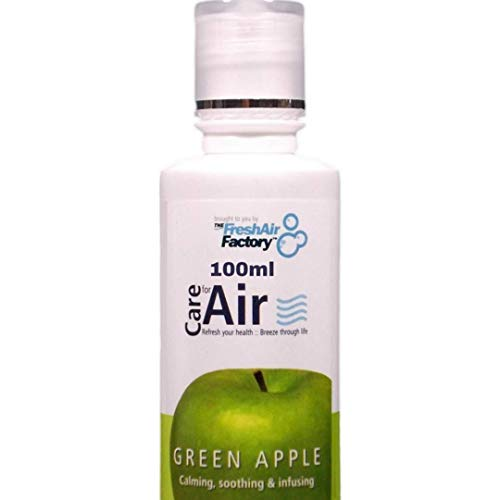 FOR AIR PURIFIERS - CareforAir Green Apple Essence 100 mL – Clean, Crisp and Refreshing Fruity Scent -Relaxing And Calming - Helps Relieve Headaches and Migraine - USE IN REVITALIZERS, IONIZERS, HUMIDIFIERS - 100% Product Satisfaction Guarantee.