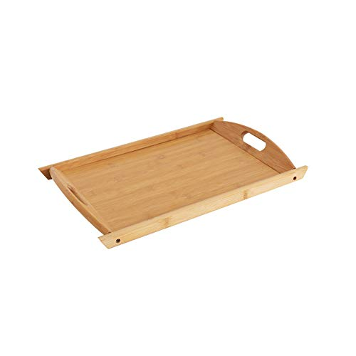 LERC Bamboo Wooden Tray, Rectangular Cheese Cake Tea Serving Dish Trays for Gastronomy & Household Also as a Food Pub Drinks Plate, with Handles