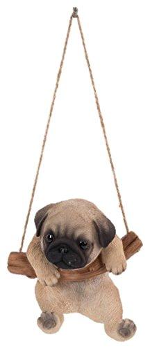 Schaukelnder Mops-Hund, Dekofigur für den Innen- und Außenbereich