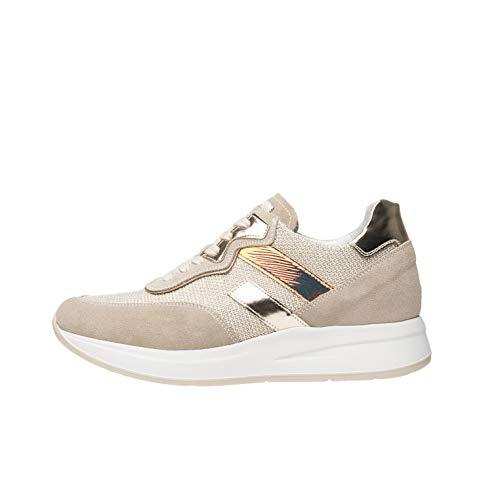 Nero Giardini E010470D Sneakers Donna in Pelle, Camoscio E Tela - Ivory 39 EU