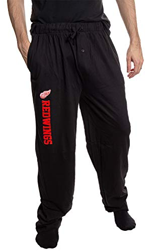 Calhoun NHL Men's Lightweight Cotton Jersey Lounge Pants (Large, Detroit Red Wings)