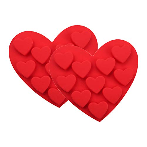 2X10 Heart Shape Silicone Mold For Chocolate, Cake, Jelly, Pudding, Handmade Soap,Non Stick Silicone Cake Pan DIY Cake Decorating Tools,Valentine's Day (Red)