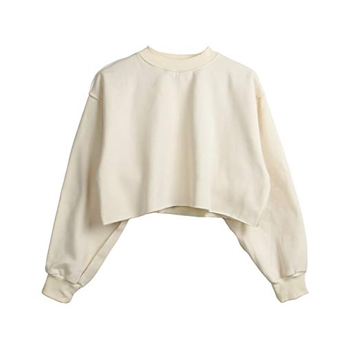 Women Pullover Cropped Hoodies Long Sleeves Sweatshirts Casual Crop Tops for Fall Winter (Small, Beige)