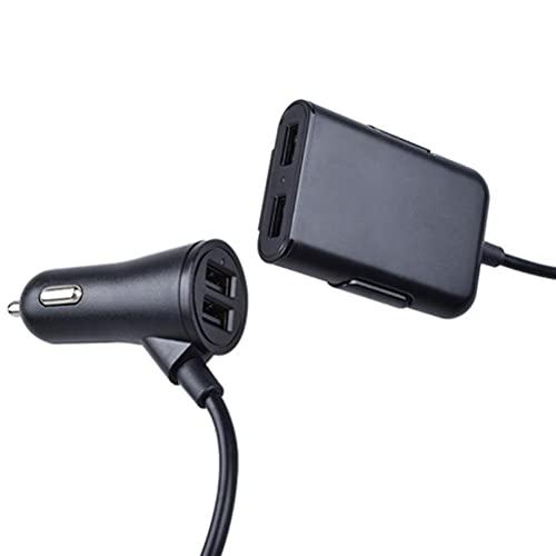MSLing Cargador de Coche USB de 4 Puertos, Cargador de Teléfono Móvil Adaptador de Carga Compatible con Todos Los Dispositivos Alimentados por USB Coche CC de 12-24V,Divisor USB Potente Portátil