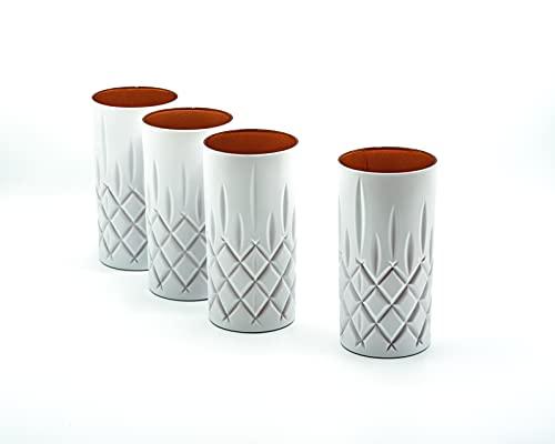 Nachtmann Noblesse - Juego de 4 vasos altos (375 ml, aptos para lavavajillas, vasos de agua coloreados por EKM (blanco/cobre)