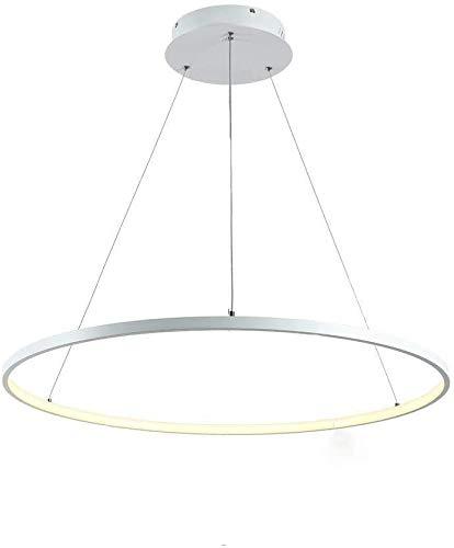 Lámpara colgante LED Luz Calida Redondo 1 Anillo Design Iluminación de techo Lámparas de araña para Salón Cocina Comedor Dormitorio Estudio Oficina Aluminio Acrílico Pantalla Blanco 60cm 3000K