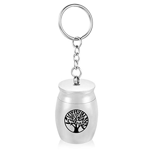 ZYLL Cremation Jewelry Keychain Round Tree Of Life Memorial Ash Keepsake Memorial Pendant Urn Key Chain Staniless Steel Jewelry