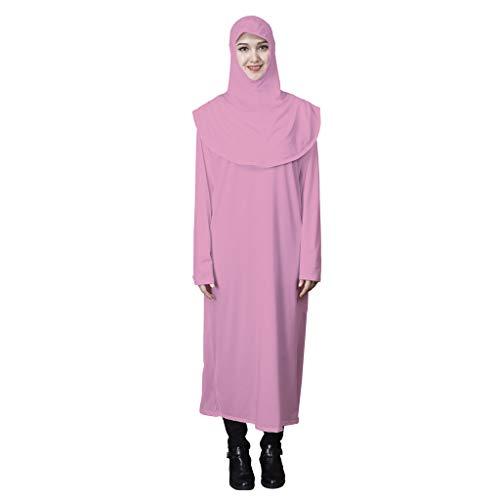 GreatestPAK Hochelastisch muslimisch Roben Damen Einfarbig Langarm Kapuzen Kleid,Rosa,Etiketten:XL(Büste:112cm)