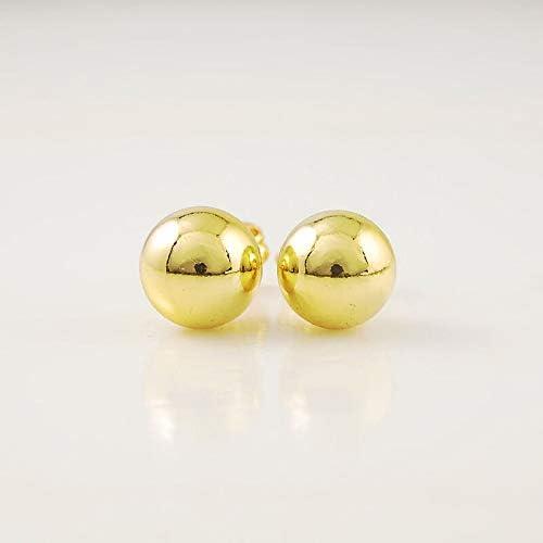24K Gold Plated Smooth Beads Round Ball Men Women Earstick Earrings GJE012 +Box
