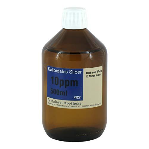 Kolloidales Silber 10ppm (500 ml) aus Apotheken-Herstellung - 100% natürliches, kolloidales Silberwasser, ohne chemische Zusatzstoffe, Inhalt: 500 ml