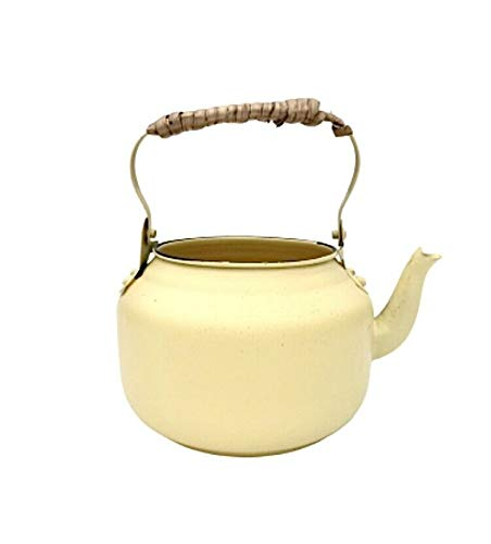 Homes on Trend Vintage Planter Pot Flower Holder Plant Metal Tub Kettle Decorative Garden Enamel Tea Pot -10 x 17 cm -Yellow