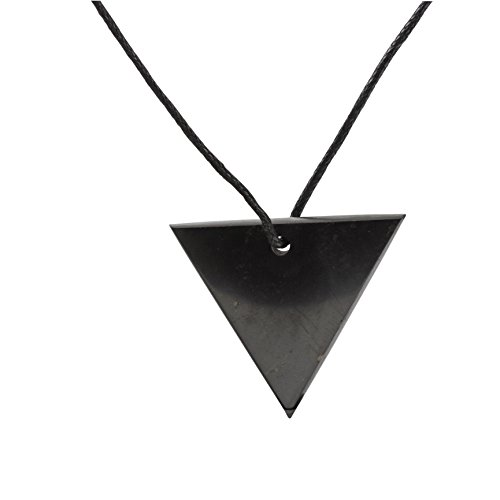 Heka Naturals Collana con Ciondolo in Shungite, Triangolo Invertito Ciondolo con Protezione Elettromagnetica | I Gioielli di Shungite Utilizzati per Il Bilanciamento Energetico | Triangolo Invertito
