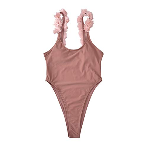Dicomi Women's Solid Color Floral Lace Bikinis Sexy High Waisted Open Back Bikini Beachwear One Piece Swimsuit Pink