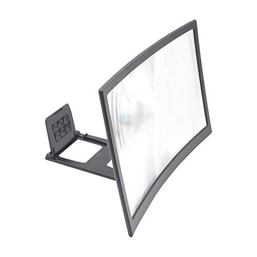 QINGJIA 12inch Handy Curved Screen Amplifier HD-3D-Video-Handy-Vergrößerungsglas Standhalter Telefon Faltbare Halter Lesen/Naturbeobachtung/Reparatur (Color : 12inch Curved Screen)