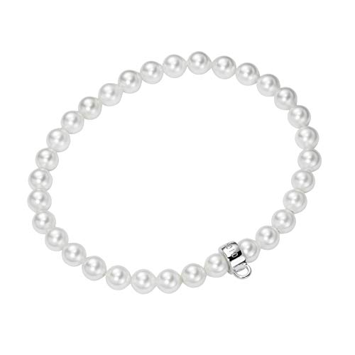 Giorgio Martello Milano Armband Flexibel Mit Öse Weiss, Onesize 925 Sterling Silber