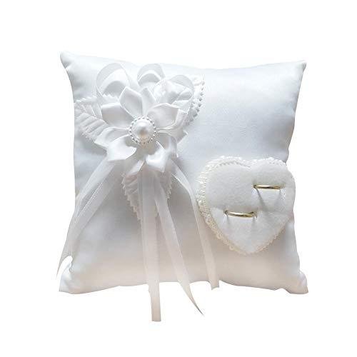 TARTIERY Coussin D'alliances, Porteur Oreiller Anneau Rustique - Fournitures De Mariage, Blanc Romantique Wedding Rose Anneau Box Rose Coeur Favors Wedding Ring Oreiller 20217cm