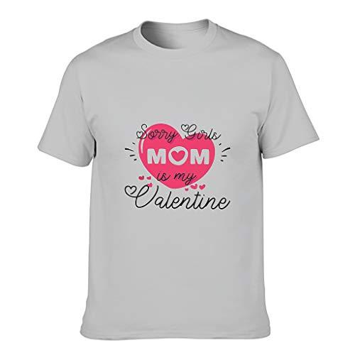 Camiseta de algodón para hombre, diseño con texto 'Sorry Girls My Mom is My Valentine' Gris plateado. XL