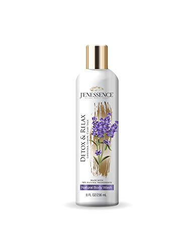 J'enessence Therapeutic Natural Body Wash, Lavender, Lemon, Clary Sage, Detox, Relaxation, Vegan, Preservatives Free, Cruelty Free, Sulfate Free, 8 Fl Oz