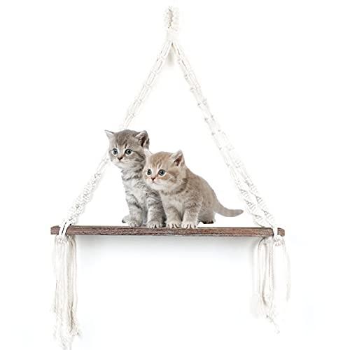 WVNM Cat Hamaock Swing Bed Interior Cat Bed Gatito Pared De La Casa del Gato Plataforma árbol Gato En La Pared De Salto De Gatito Pared-Plataforma Montada-Madera Vintage 45x14x46.5cm