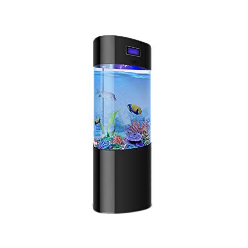 DUTUI Ovales Aquarium, Stilles Acrylaquarium Für Das Wohnzimmer Im Home Office, Goldenes Aquarium Ohne Wasserwechsel, Mit Display,Schwarz