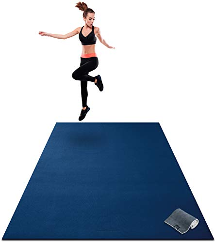 Premium Extra Large Exercise Mat - 7' x 5' x 1/4' Ultra Durable, Non-Slip, Workout Mats for Home Gym Flooring - Plyo, Jump, Cardio Mat - Use With or Without Shoes (213cm Long x 152cm Wide x 6mm Thick)…