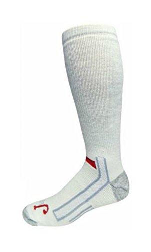 Justin Mens White Full Cushion Over the Calf Socks (12-15, White)