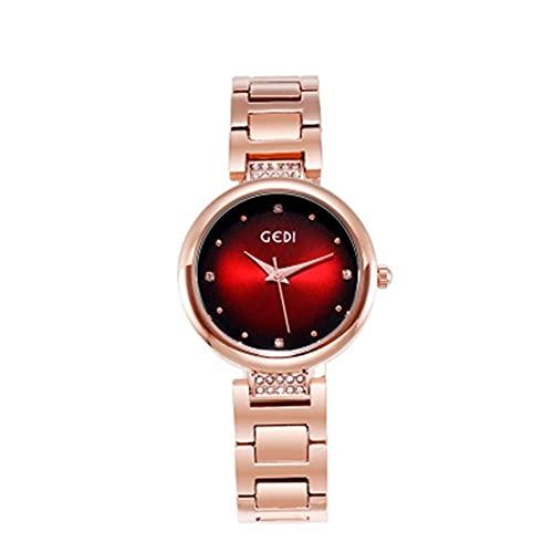Cronómetro de diamante para mujer, correa de acero, reloj de pulsera de cuarzo para mujer, reloj de pulsera casual y de cuarzo (color: A)