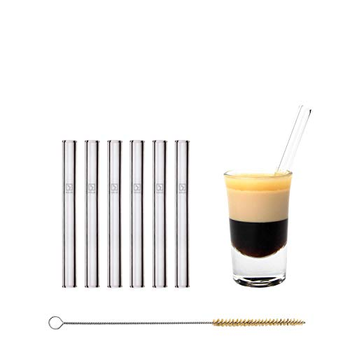 Sostenible H/ÅLM Pajitas de Cristal Reutilizables Apto para lavavajillas Pajitas de Cristal para Vasos de chupito Cepillo de Limpieza sin pl/ástico 6 Unidades Cortas Rectas 10 cm
