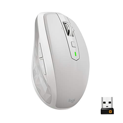 Logitech MX Anywhere 2S Mouse Wireless, Multidispositivo, Bluetooth o 2.4 GHz Wireless con Ricevitore USB Unifying, 4000 DPI su Ogni Superficie, 7 Pulsanti, Ricaricabile, PC/Mac/Laptop/iPadOS, Grigio