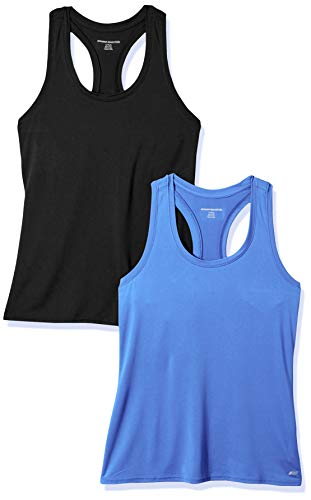 Amazon Essentials Women's 2-Pack Tech Stretch Relaxed-Fit Racerback Tank Top, Bright Blue/Black, Large