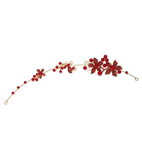 Minkissy rhinestone perla diadema boda banda para el cabello tocados de novia...