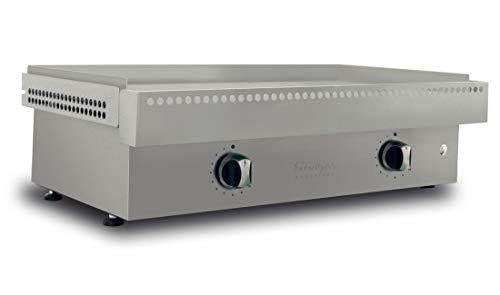 Simogas - Plancha gaz Chrome Dur Efficiency 18 mm - 2 brûleurs en H Extreme